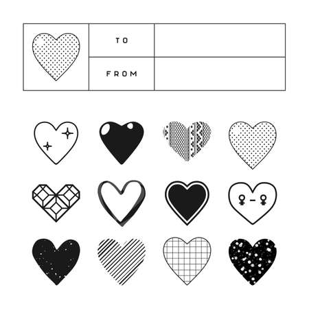 customizable: Set of heart cliparts in different styles with a customizable gift tag template. St Valentines Day greeting card