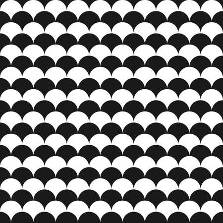 fish scales: Black and white seamless pattern with fish scales