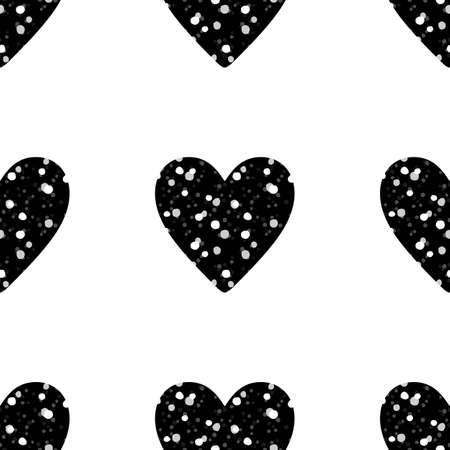 Valentines Day seamless pattern with rows of black glitter hearts on white background