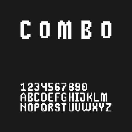 Gaming style pixel font set in uppercase (letters and digits) Illustration
