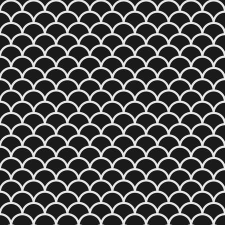 Black and white seamless pattern with fish scales in japanese style Illustration