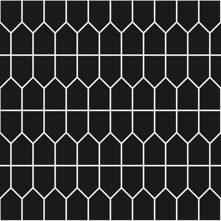 tessellate: Prismatic tiles texture. Geometric seamless pattern with polygons in black and white Illustration