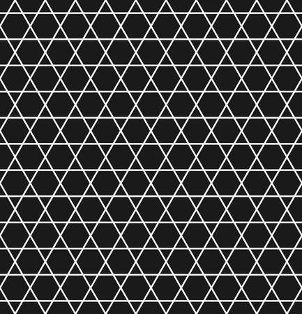 tessellate: Geometric seamless pattern with hexagons and triangles in black and white