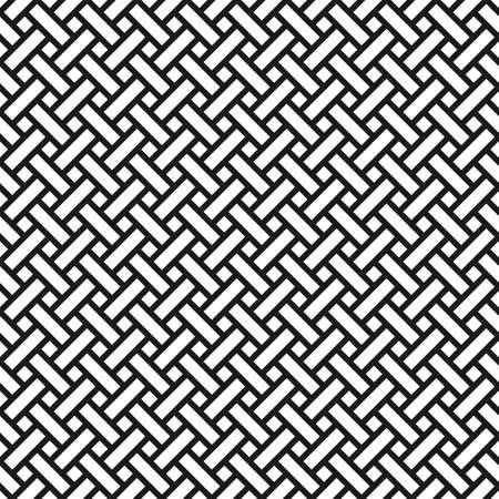 アジアン スタイルで抽象的なモノクロ シームレス パターン。枝編み細工品のテクスチャ  イラスト・ベクター素材