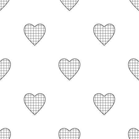 白い背景の市松模様の心でバレンタインデーのシームレス パターン  イラスト・ベクター素材