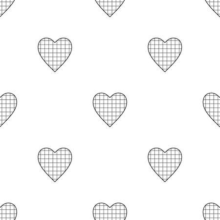 Valentine's Day seamless pattern with checkered hearts on white background Illustration