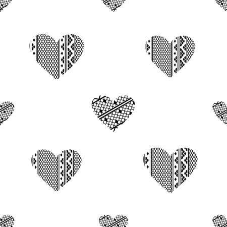 白い背景の上にレースのハートとバレンタインデーのシームレス パターン