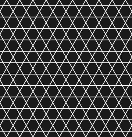 Geometric seamless pattern with hexagons and triangles in black and white