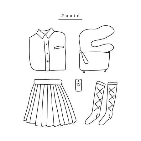 Outfit of the day. Hand drawn clothes: shirt, pleated skirt, knee socks, crossbody bag, smartphone in linear style (flat lay / top view) Illustration