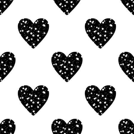 白い背景に黒のキラキラ ハートのバレンタインのシームレス パターン