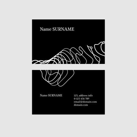 Stylish black and white business card template with abstract design elements Иллюстрация