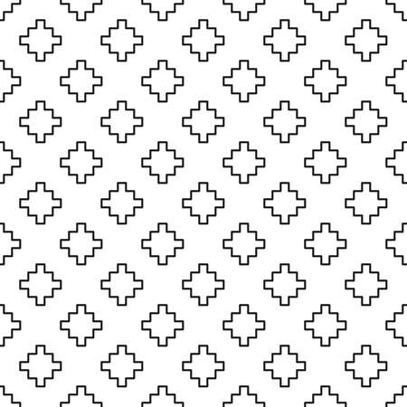 エスニック スタイルのジグラットをモチーフにした黒と白のシームレス パターン