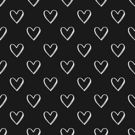 Valentines Day seamless pattern with white watercolor heart outlines on black background Иллюстрация