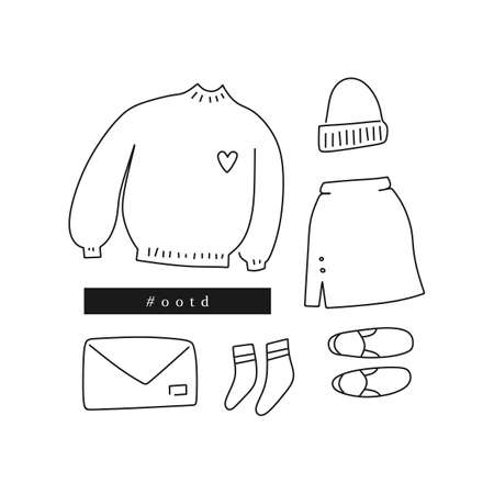 Outfit of the day. Hand drawn clothes: sweater, skirt, slip-ons, beanie, etc in linear style (flat lay / top view)