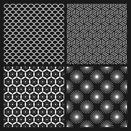 Set of monochrome seamless patterns in Asian style Illustration