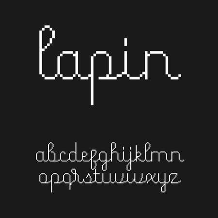 Cute 8-bit style script font with Latin letters in lowercase