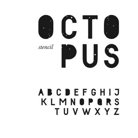 グランジ テクスチャの sans serif ステンシル フォント大文字で。スタンプ書体