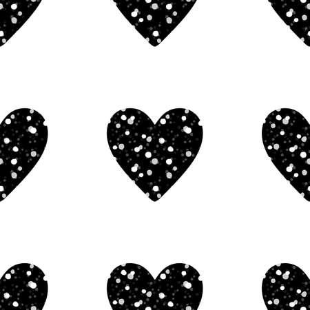 白い背景に黒のキラキラ ハートの行でバレンタインデーのシームレス パターン