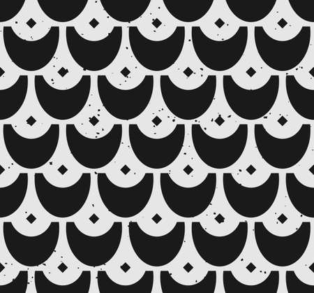 Block print seamless pattern with scale motifs and removable vintage texture Illustration