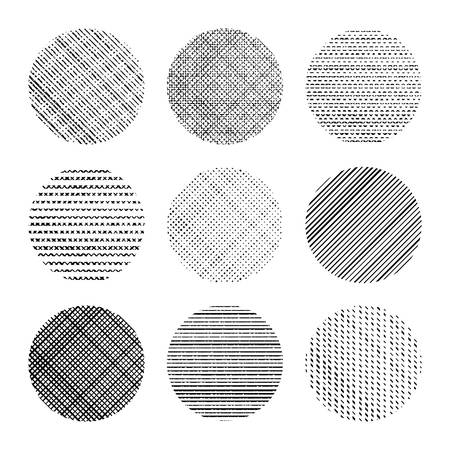 Set of decorative textured circles in black and white Illustration