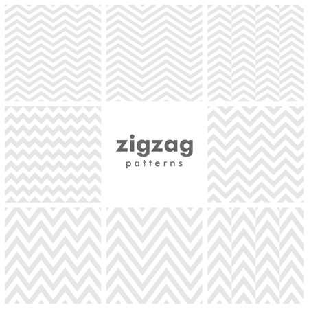 Set of eight zigzag and herringbone seamless patterns