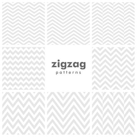 Set of eight zigzag and herringbone seamless patterns