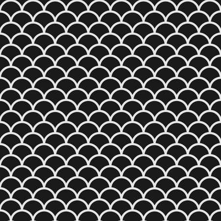 escamas de peces: Modelo inconsútil blanco y negro con escamas de pescado en el estilo japonés