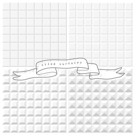 4 個の白色のタイルをシームレス パターン  イラスト・ベクター素材
