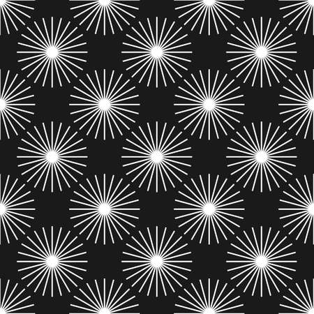 黒と白の抽象的なタンポポ シームレス パターン。サンバーストのシームレス パターン