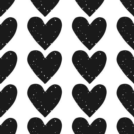 バレンタインデーのブロック印刷シームレス パターン ホワイト バック グラウンド テクスチャ グランジ ブラック ハートの行