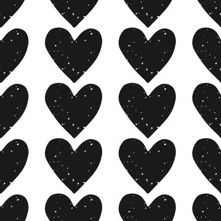 Valentines Day block print seamless pattern with rows of grunge textured black hearts on white background