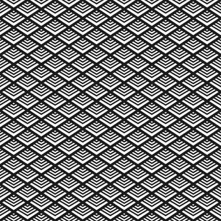 アールデコ様式の黒と白のシームレス パターン  イラスト・ベクター素材