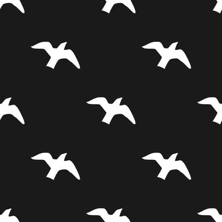 Black and white seamless pattern with flying birds