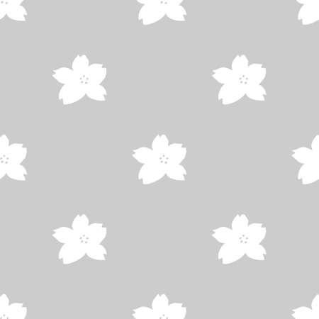 Monochrome seamless pattern with white cherry blossoms on light grey background Illustration