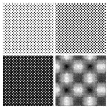 白と黒のハーフトーンのシームレス パターンのセットです。テクスチャ充填のハーフトーン ドットの模倣。  イラスト・ベクター素材
