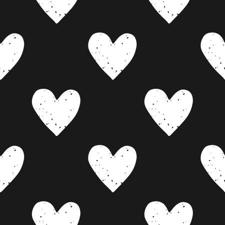 Valentines Day block print seamless pattern with grunge textured white hearts on black background Illustration