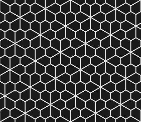 白と黒の五角形と幾何学的なシームレス パターン。小花五角形タイル。  イラスト・ベクター素材