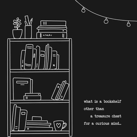 Hand drawn book shelf illustration in linear style. Quote about books design Illustration