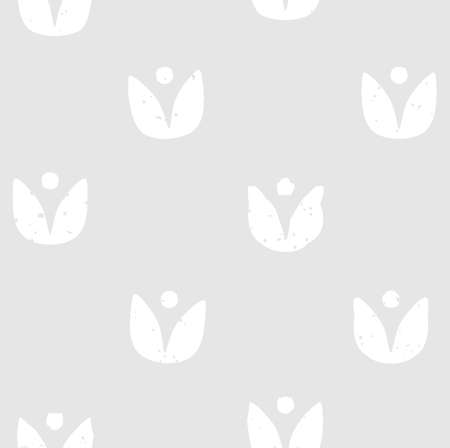 the sprouting: Block print seamless pattern with floral motif. White flowers on light grey background