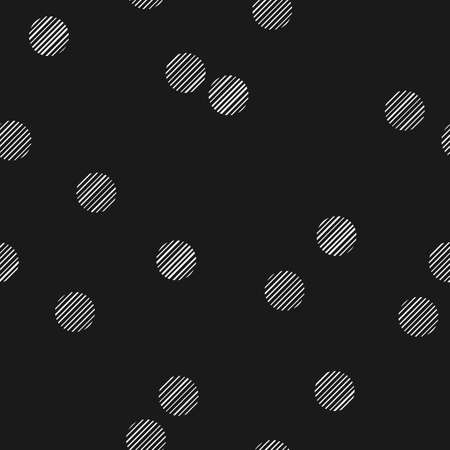 Black and white seamless pattern with hatched dots. Stylized bokeh seamless pattern. Abstract snowfall. Illustration