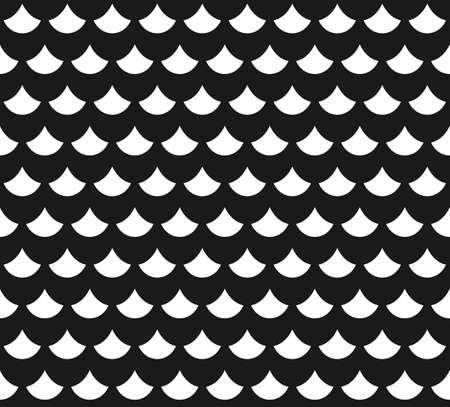 魚と抽象的なシームレス パターンの白と黒のスケールします。