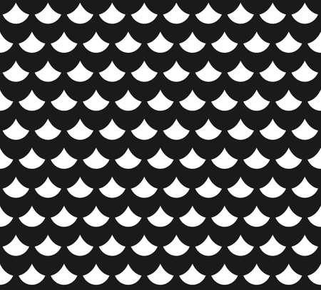 Abstract seamless pattern with fish scales in black and white Illustration