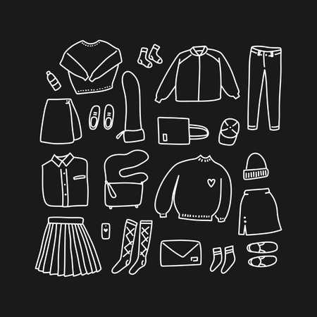 ルックは、白と黒のいたずら書き。直線的なスタイル (フラット レイアウトトップ ビュー) で手描きの女性服のセット
