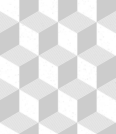Isometric cubes seamless pattern in retro style. 3d optical illusion background with grainy texture Illustration