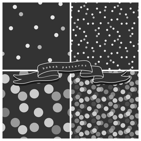 Set of four bokeh seamless patterns in grayscale