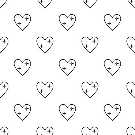 St. Valentines Day seamless pattern with linear hearts in black and white