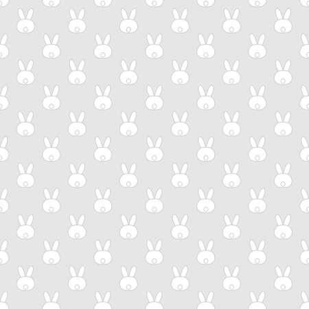 Cute Easter seamless pattern with white bunny