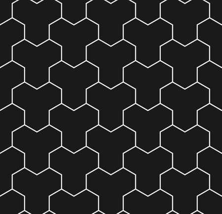 白と黒の石を舗装のシームレスなパターン。曲がり目 Y タイル  イラスト・ベクター素材