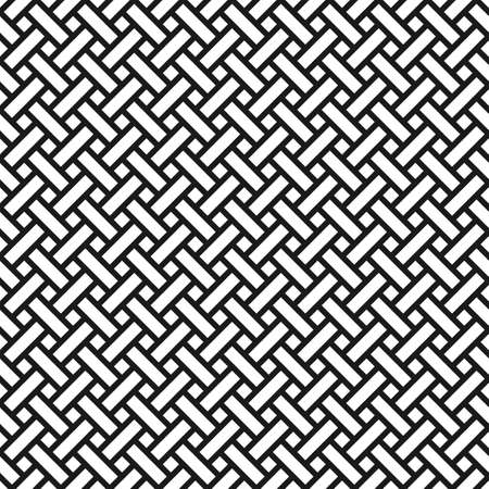 Abstract monochrome seamless pattern in asian style. Wicker texture