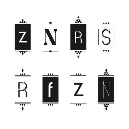 Set of editable monogram logo designs in black and white